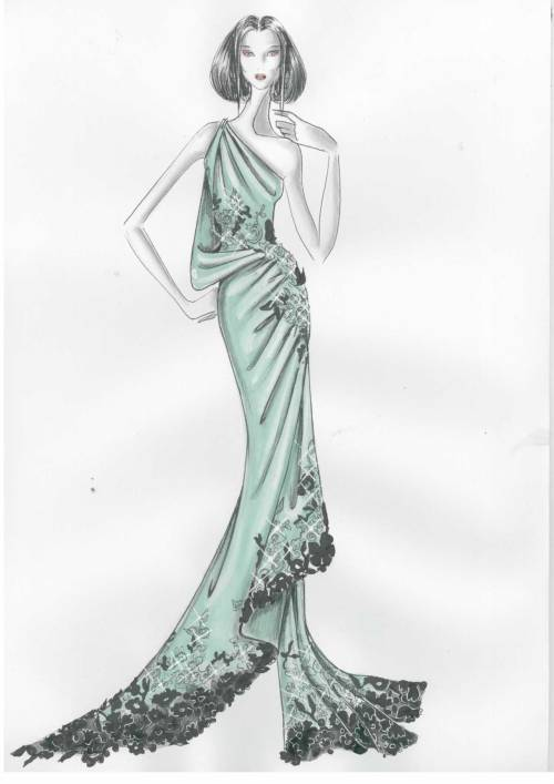 Pasquale Tarantino Piscitelli Draped Evening dress in Aquamarine silk satin with aplication of Aquamarine and Black lace with cristals