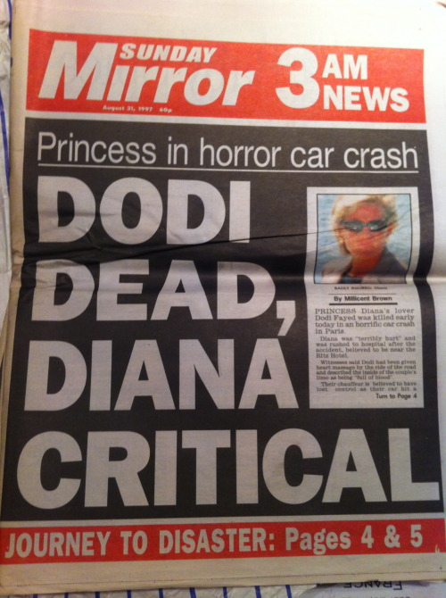 Dodi dead, Diana critical - found this in my collection of newspapers going back 300 years