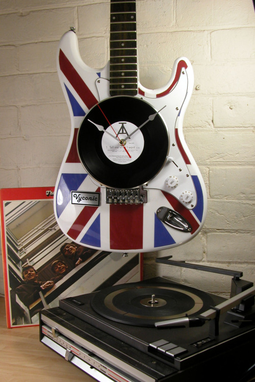 Union Jack guitar with Vinyl record clock face