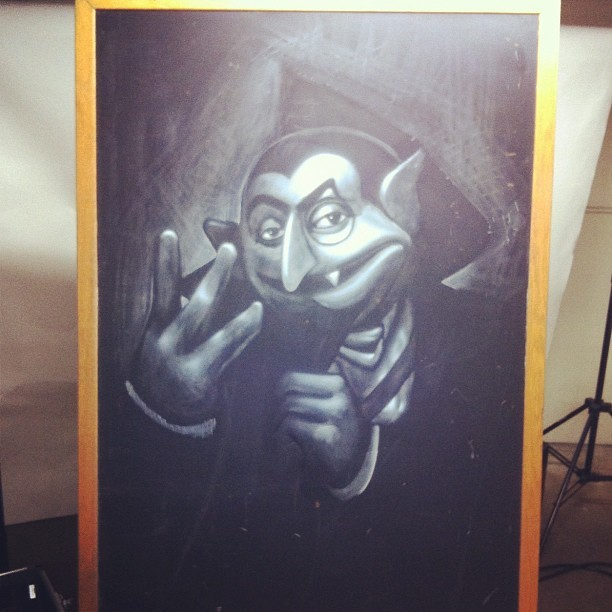 ogabel:  #ogabel #count Original piece for the Sesame Street show was done using white pastel on an original LA school black board. Check out the show this weekend @knowngallery @theseventhletter  (Taken with instagram)  Mad skills!