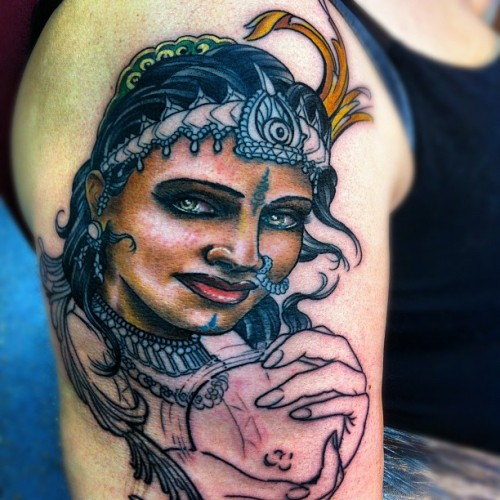Not finished but enjoying doing this #gypsy #pushka #fortuneteller #oliverjerrold #hopeandglorytattoo #tattoo