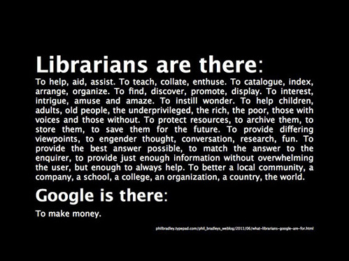 theothersideofthedrinkingglass:  Haven't libraries become more tech-based over the years?  And haven't people ever met a real librarian?  I'm a Librarian: Because they give me chocolate and pizza and it looks good for colleges.