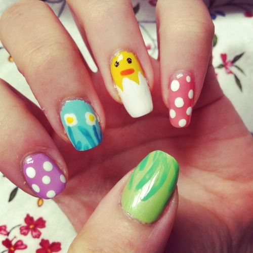 My messy attempt at replicating these amazing nails when it was Easter :) Colours used: Nail Tip Whitener by Natural CollectionBlack Crackle by Barry M (I used crackle because my other black is so watery!)Parma Violet by 17 Wave by 17 (mixed with white to make it lighter) Mermaid Blue by Maybelline NY Bright Yellow by Barry M Tropical Island by 17 Pink Grapefruit by 17 Bright Green by Barry M Edamame by Models Own