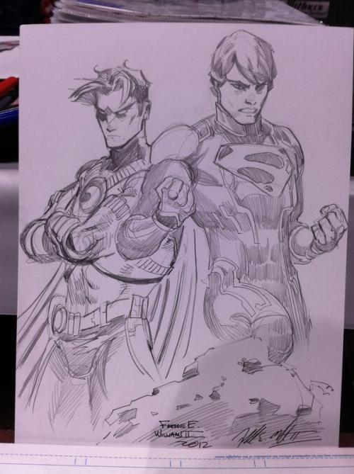 surrealglory:  Robin (Tim Drake) and Superboy (Conner Kent) by Freddie E. Williams II