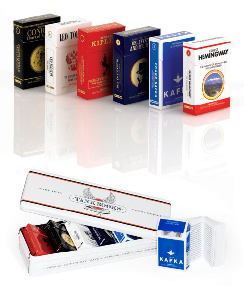 The flip-top cigarette pack is one of the most successful pieces of packaging design in history. TankBooks pay homage to this iconic form by employing it in the service of great literature. We have launched a series of books designed to mimic cigarette packs – the same size, packaged in flip-top cartons with silver foil wrapping and sealed in cellophane.  This is awesome. I don't know why, but I've always loved the design of cigarette packs. I don't even smoke. This is just beautiful design. Would love to see some more books in the series. Maybe some John Steinbeck?