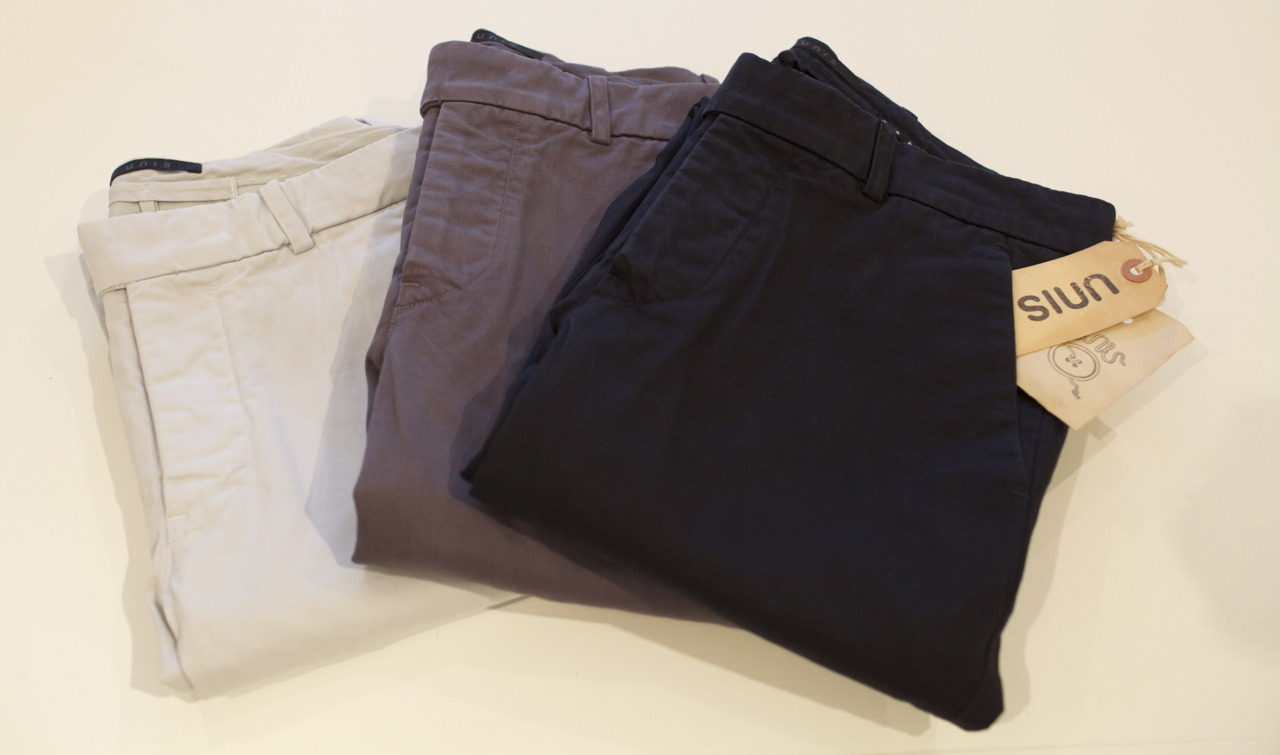 New Arrival | UNIS Gio The Perfect Chino for any occassion. L-R: Mist, Carbon, Navy