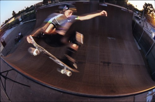 Mimi Knoop: Frontside tailgrab at the old Clairemont ramp.