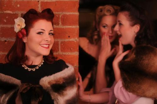 Models - The Three bellesPhotography - Jez Brown PhotographyHair - Sarah's Doo-Wop DosHair flowers - Lil Mischief - corsets, bustles, retro clothing and accessoriesClothing - Rose-tinted Vintage BedfordLocation - Harpurs wine bar http://thethreebelles.com/