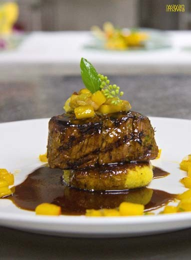 Grilled Beef Tenderloin with Mango Jus It is a fusion of a taste and flavor, the tenderness of the beef will allow the taste of the mango goes into the tissue of the beef  and merge with the combination between the mango puree and the brown sauce.