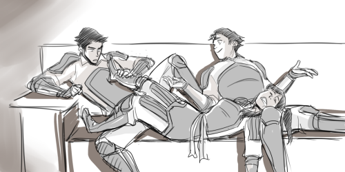 ironinkpen:  minuiko:  I just wanted Korra's feet in Mako's face and this happened… No Asami because I wanted this to be Fire Ferret thing c:  So cute :D
