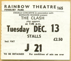 chiveta:  The Clash punk concert ticket The Rainbow, London 1977 (by PaulWrightUK)