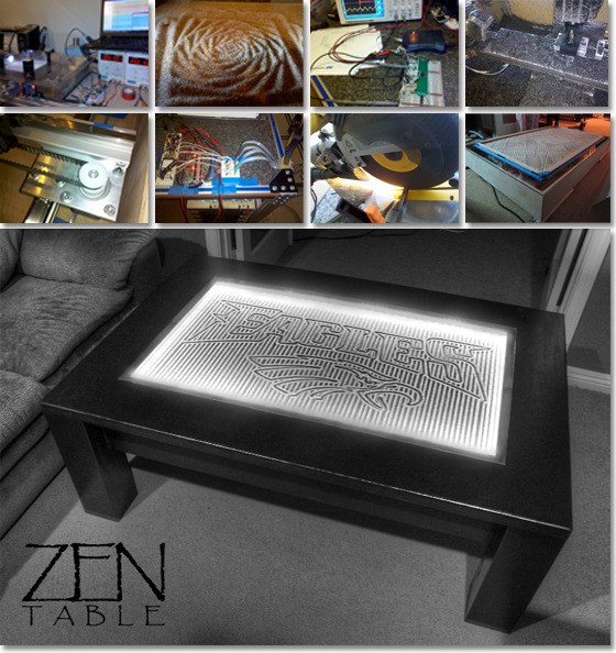 Sand Plotter (Part 1): Zen Table  Two posts on technology that uses a layer of sand, a ball-bearing, and computer-controlled magnets to draw images in the sand. Firstly, the Zen Table, which was successfully funded on Kickstarter:  Imagine a Japanese Zen Garden built into a beautifully-crafted, glass-topped table. The body of the table encapsulates electronics and robotics, that sculpt geometric patterns and images into a field of microscopic silicone beads beneath a glass top. The effect is mesmerizing and magical; it is truly Zen-like to watch ever-changing patterns and images appear in the sand.  Here is short promo where you will see it in action:  You can find out more about the project on Kickstarter here