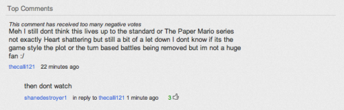 "I'm constantly reminded how much I dislike Emile's (Chuggaaconroy's) fanbase. What the 1st guy said wasn't even that bad- ""I'm not sure why, I just don't think this game is that great compared to other Paper Mario games"" ""WELL THEN Y R U WATCHING?!  ADKJHKAWBD!"" Seriously, Emile, fuck your fanbase."