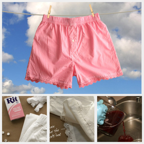 DIY Pretty Lace Dyed Boxer Shorts. Got to love that the plain boxers are from Target. Tutorial from Trinkets in Bloom here. *I love these in plain white but would they be too see through?