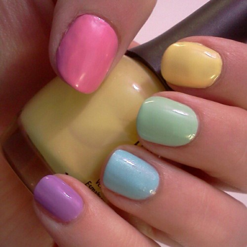 Pink-Pure Ice Love Yellow-Finger Paints Lemon Sour Green-Sally Hansen Mint Sorbet Blue-Revlon Blue Lagoon Purple-Sally Hansen No Hard Feelings  (Taken with instagram)