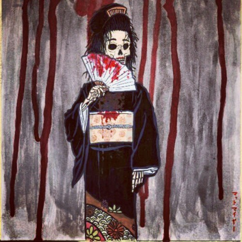 #Japan #kimono #fan #skeleton #blood #geisha (Taken with instagram)