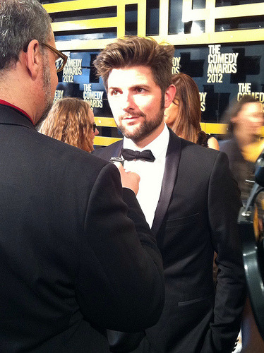 "ballroompink:  weightofallthewords:  Adam Scott at the 2012 Comedy Awards  Well, hello there!  Am I the only one getting a ""Faith""-era George Michael vibe from Scott's current look?"