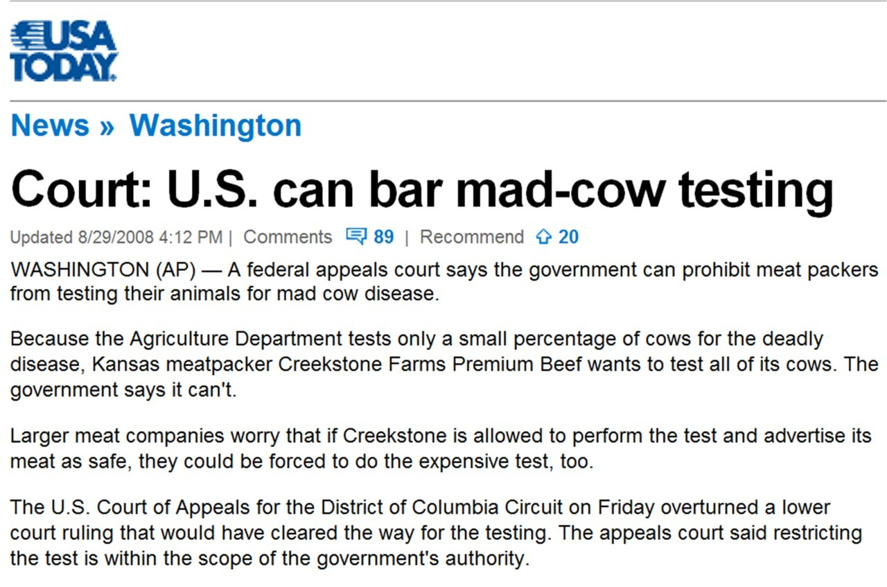 "Is the US government ban on mad cow disease testing still in effect? I know government needs to help businesses remain viable, but Yo…! Source: USA Today song currently stuck in my head: ""black nile"" - wayne shorter"