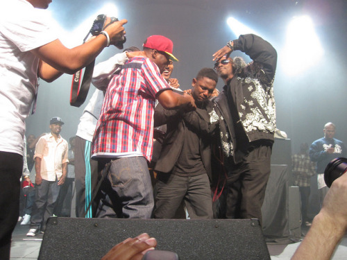 "Kendrick Lamar brought to tears after Snoop Dogg, Game, and various West Coast rap legends ""pass him the torch""""And there goes my fate, now I'm on stage with SnoopGave me the torch and I ran with it in high pursuitRapped with my forefathers, even record with Gaga too"" - The Heart Pt. 3"