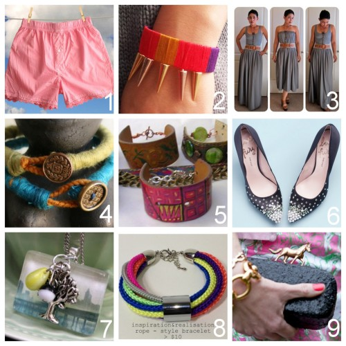 Roundup Nine DIY Fashion and Jewelry Tutorials PART SIX. Roundup of this past week in case you missed anything. April 22nd - April 28th, 2012. DIY Pretty Lace Dyed Boxer Shorts (Trinkets in Bloom) here. DIY Thread Wrapped Cuff with Spikes (Pretty Quirky Pants) here. DIY Maxi Skirt to Dress (mimi g.) here. DIY Easy Yarn Wrapped Rope Bracelet with Button Closure (cut out + keep) here. DIY Recycled Belt Bracelet (Fave Crafts) here. DIY Rhinestone Embellished Heels (Teen Vogue) here. via dizzymaiden DIY Glass Tile Pendants with Insurgent and Divergent Book Covers and Charms (Rae Gun Ramblings) here. DIY Five Minute  Anthropologie Corded Bracelet (inspiration & realisation) here. DIY Kentucky Derby Minaudiere or Clutch (Trinkets in Bloom) here.