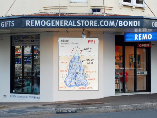 remogeneralstore:  Spent most of yesterday at the store in Bondi helping Tina sell everything that wasn't nailed down. There's still a bit of merchandise left if you live local and want to try your luck. About half of the perspex plinth units have gone. Also (and this is the news today) we've decided to sell our remaining corner posters … big vinyl banners (1.9m x 2.3m) that will guarantee your bit of REMO History at $120 each. There are 15 left … all one offs. Also for sale: various plinths, dexion shelving, random desks & chairs. Bondi opens today from 11am. Cheers, Remo