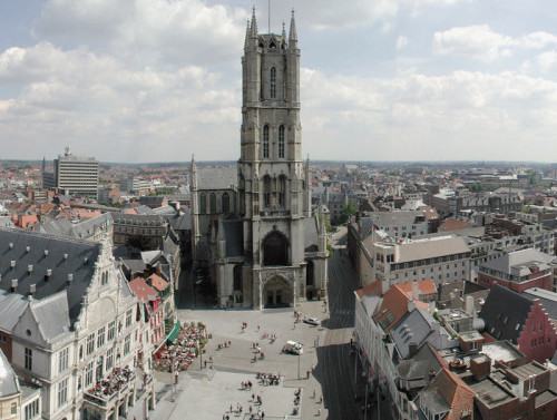 View on the cathedral of Ghent, as seen from the belfry.