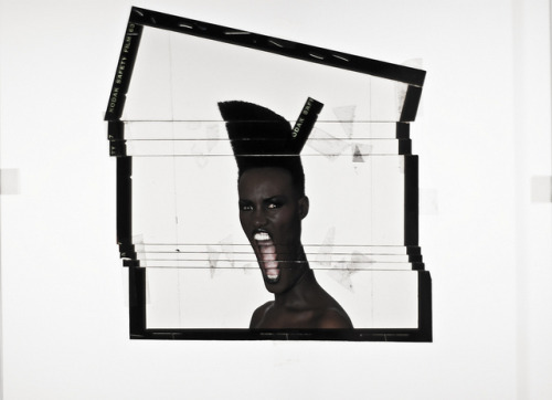 Grace Jones polaroid art/design for Slave to the Rhythm (1985)