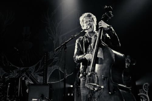 Ted Dwane of Mumford & Sons performs at The Ryman Auditorium in Nashville on March 7, 2012. Photo © Jackie Osborne.