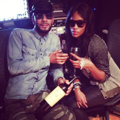 IDK why she's still rapping… EVE wasting time in the studio with Swizz Beatz [privately; there should be old age limits for has been rappers.]