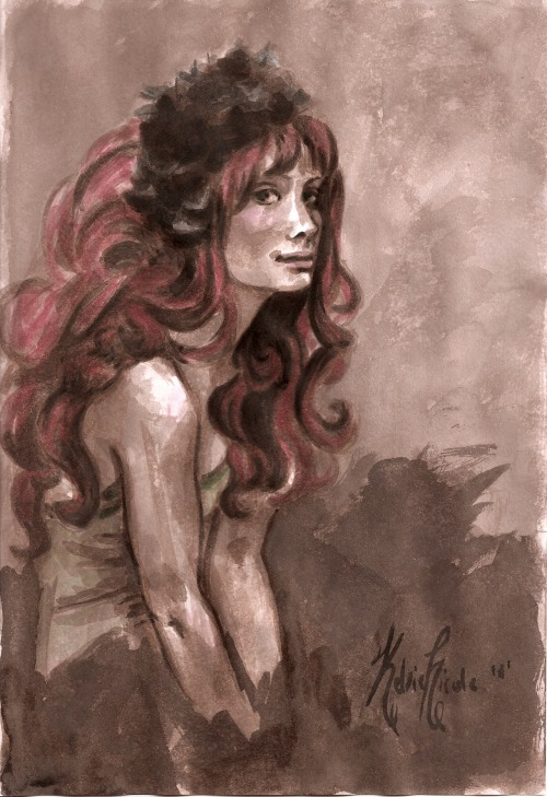finished portrait of Alison Sudol of A Fine Frenzy by Kelsie Nicole sepia ink on sketchbook paper with a brush and colored ink accents.