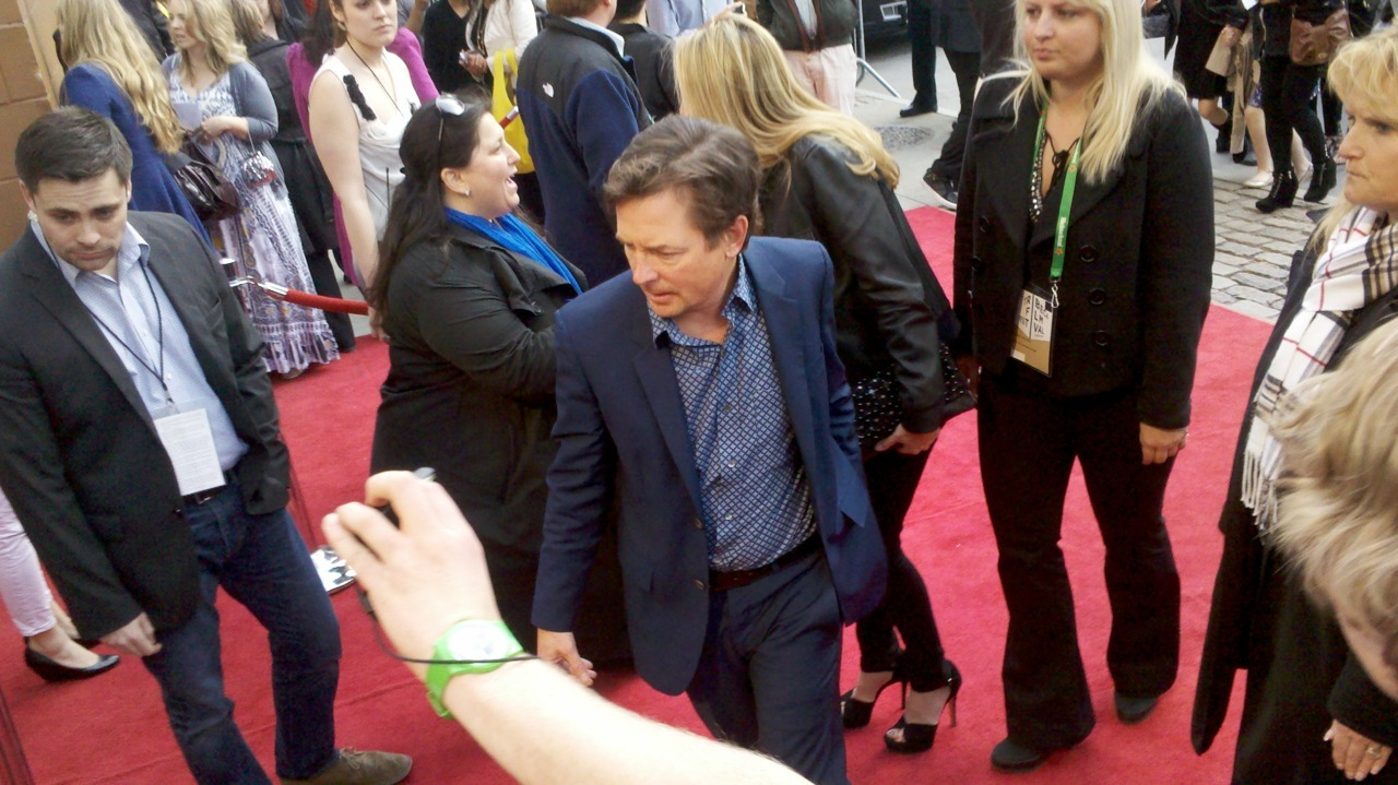 Michael J Fox showing up to the Avengers premiere.
