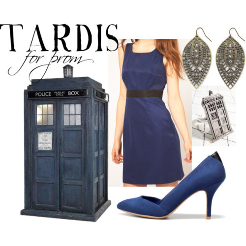 TARDIS for prom  Vila short cocktail dress, $29Zara shoes, $50String jewelry, $10Gold drop earrings, $8    and there is this.