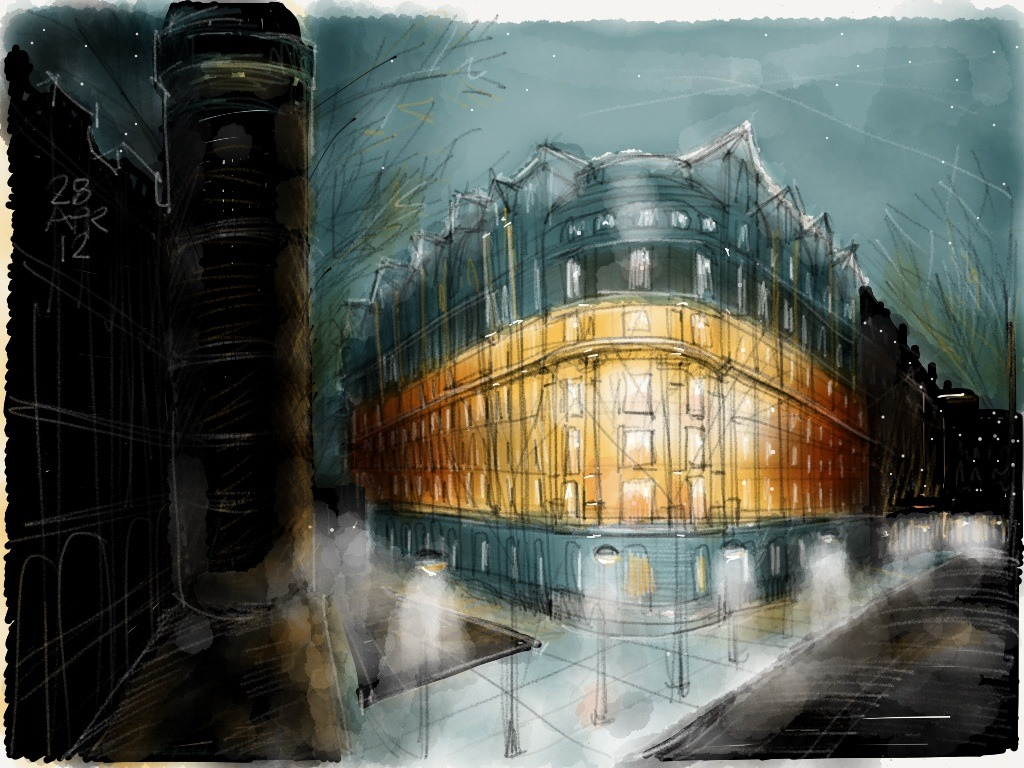 Wow.  Really nice architectural sketch.  Love the contrast.  archphotog: Night scene study Made with Paper