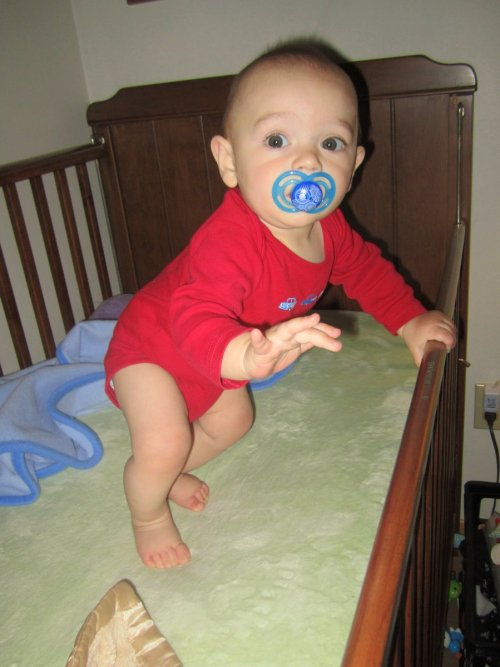 Look who has learned to pull up! He's only 7.5 months, he's not supposed to be doing this yet!! ;)(And, yes, the crib mattress needs to be lowered now.)