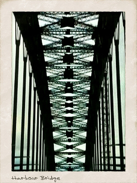 Sydney Harbour Bridge on Flickr.The view from underneath. Blurry, but I like it.