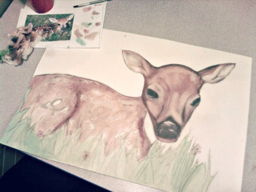 Gah, I hope this turns out okay, but this is my deer so far and yeah