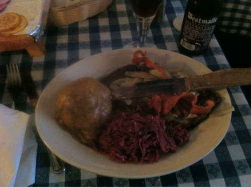 Liver and onions, cabbage, and a dumpling. I feel like doing a polka.