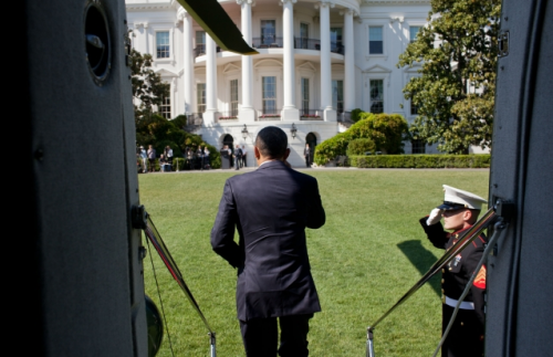 President Barack Obama exits Marine One on the South Lawn of the White House following a trip to Fort Stewart, Ga., April 27, 2012. (Official White House Photo by Pete Souza)