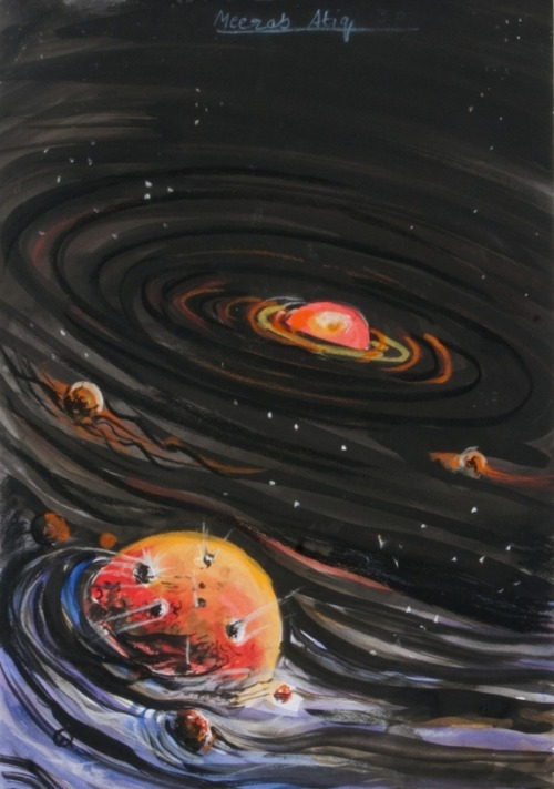 the-star-stuff:   Inspiring Space Art Gallery: Space Foundation Student Contest Solar System Meerab Atiq won the grand prize in the 3rd-5th grade category and attends Beaconhouse School System in Lahore, Pakistan. Meerab also won 1st place in the 3rd-5th grade painting category.  Credit: Space Foundation