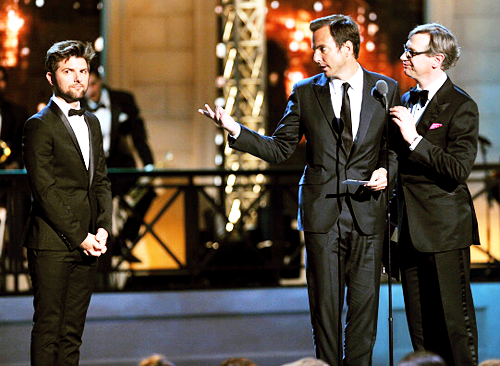 Adam Scott, Will Arnett and Paul Feig on stage at the 2012 Comedy Awards, April 28 2012
