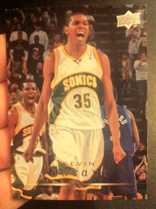 nbaoffseason:  Going through a box of old books & this gem fell out.   Last seen as a bookmark in 2008: KD's Upper Deck rookie card.   Go Supersonics lol