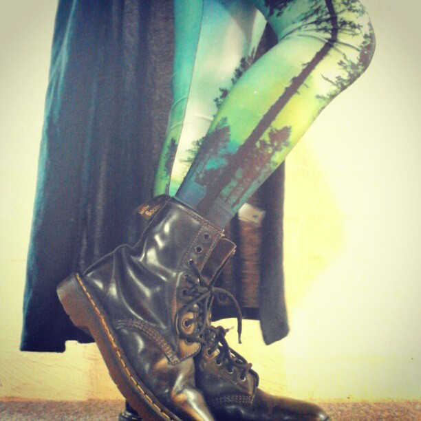 thelifeandliesofniamh:  mrdarcyisfine:  #solestruckultimateshoe #blackmilk #auroraskyelegs (Taken with instagram)  Yay I own these items too :) Black Milk Aurora Skye leggings and Dr. Martens boots. Indestructibe everlasting forever pretty very comfy totally worth their money pieces.  So worth the money! And they go so amazing together! :)