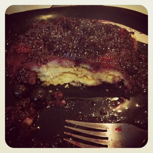 Breakfast of champions, pancakes with mixed berry sauce  (Taken with instagram)