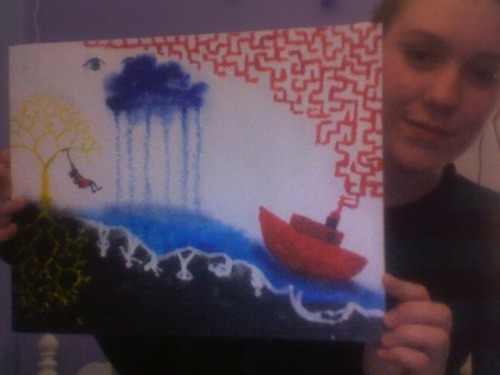 I painted a picture today. I'm not really sure what it is or why it looks like that but it was fun.  I've been listening to Koyaanisqatsi by Philip Glass a lot. I watched forty-five minutes of the documentary before dying of boredom so I'm done with that but I love the music, particularly Pruit Igoe, Prophecies and Cloudscape. They're beautiful songs, definitely check them out if you have the chance.