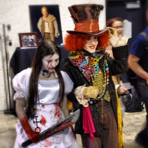 This kid was serious biz. #madhatter #timburton #yyc #comiccon not too sure about the chick though… (Taken with Instagram at Calgary Comic and Entertainment Expo)