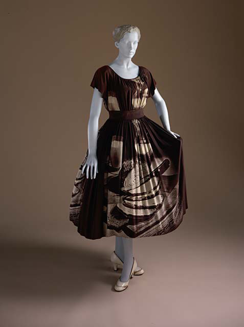 omgthatdress:  Dress Gilbert Adrian, 1951 The Los Angeles County Museum of Art  I like how subtle the pattern is.