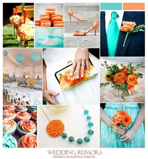 teal and orange wedding