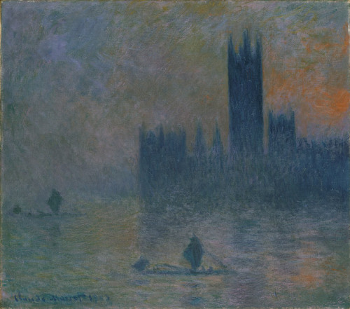 "fishingboatproceeds:  museumuesum:  Claude Monet The Houses of Parliament (Effect of Fog), 1903–4Oil on canvas 32 x 36 3/8 in. (81.3 x 92.4 cm)  ""Monet is only an eye—but God, what an eye."" -Cezanne"