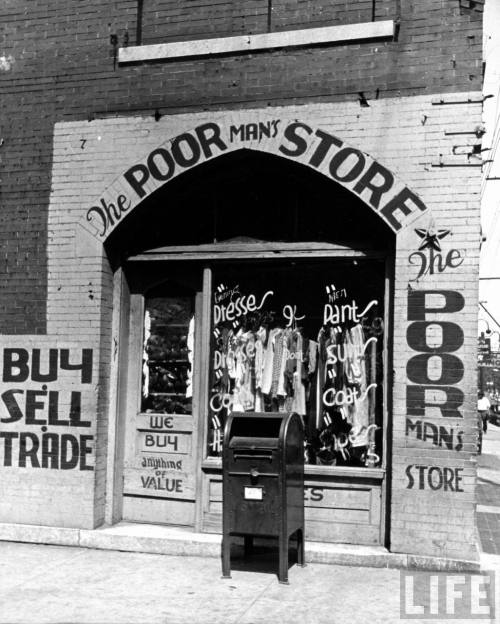 """Window of The Poor Man's Store on Beale Street in Memphis."" 1938 by Alfred Eisenstaedt"