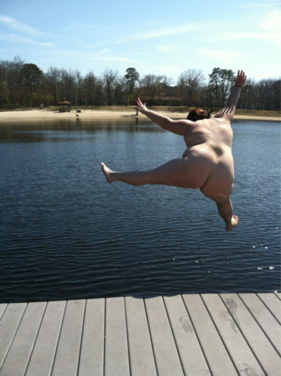 chubby-bunnies:  Well, this is me, naked, jumping into a very much public lake (right behind those trees is a highway) in broad daylight.  I love being a fat/PALE jersey shore girl. breaking the stereotype. :D Submitted by http://bananapizzapie.tumblr.com/